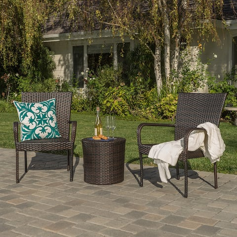 Littleton Outdoor 3-piece Wicker Stacking Chair Chat Set by Christopher Knight Home