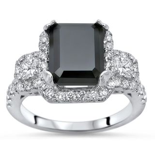 Noori 14k White Gold 3 4/5ct TDW Black Emerald-cut Diamond Engagement Ring