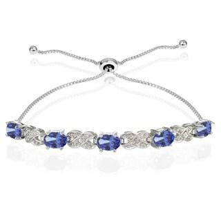 Glitzy Rocks Sterling Silver Tanzanite and Diamond Accent Infinity Adjustable Bracelet