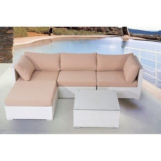 3 Piece White Wicker Sofa Set with Cushions