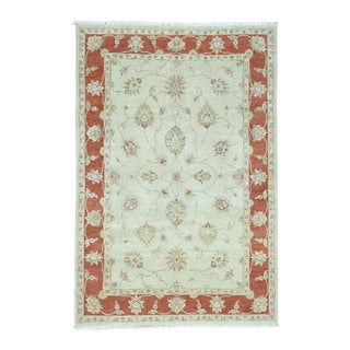 "Hand-Knotted Peshawar Hard Twist Pure Wool Rug (6'1""x9')"