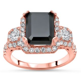 Noori 14k Rose Gold 3 7/8ct TDW Black Emerald-cut Diamond Engagement Ring (G-H, SI1-SI2)