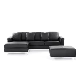 Modern Sectional Sofa in Leather with Ottoman - OSLO
