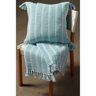 Striped Cream Cotton 50-inches x 60-inches Reversible Tealand Throw