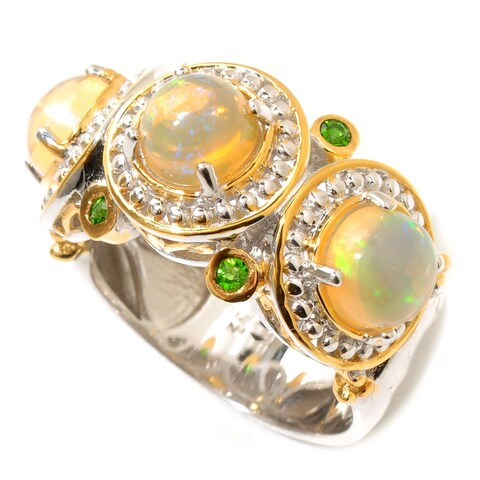 Michael Valitutti Palladium Silver Ethiopian Opal and Chrome Diopside Polished Ring