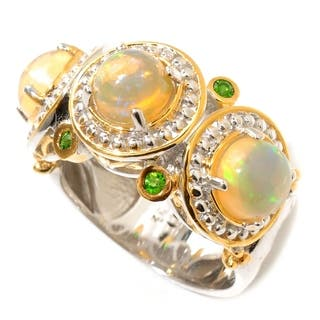 Michael Valitutti Palladium Silver Ethiopian Opal and Chrome Diopside Polished Ring|https://ak1.ostkcdn.com/images/products/13433474/P20125456.jpg?impolicy=medium