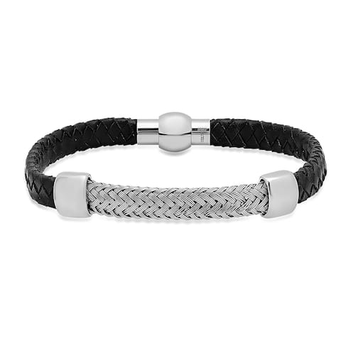 Steeltime Men's Gold Tone Leather Braided Bracelet in 3 Colors