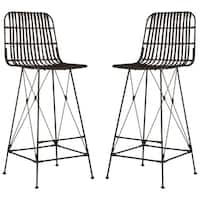 Safavieh 43.3-inch Minerva Wicker Croco Brown Bar Stool