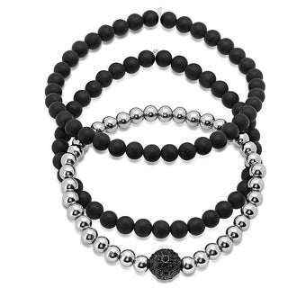 Men's Silvertone and Black Lava Stainless Steel 8-inch Beaded Bracelets (Pack of 3)