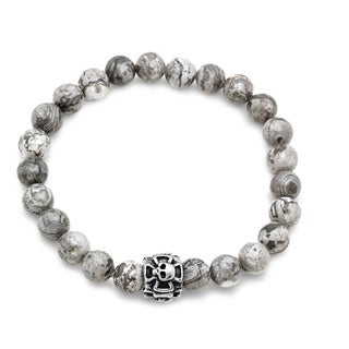 White Stainless Steel and Grey Agate Beaded Bracelet