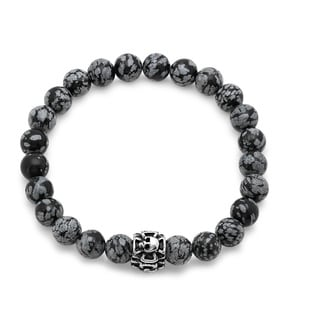 Black Stainless Steel/Agate Beaded Skull Bracelet