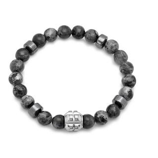 Men's Steeltime Stainless Steel and Grey Agate Beaded Bracelet