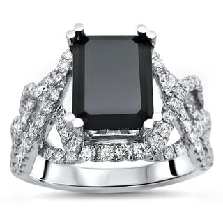 Noori 14k Black Gold 4ct TDW Black Emerald-cut Diamond Engagement Ring (G-H, SI1-SI2)
