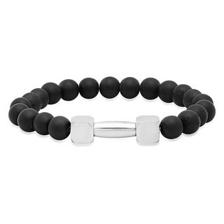 Black Lava and White Stainless Steel Beaded Bracelet