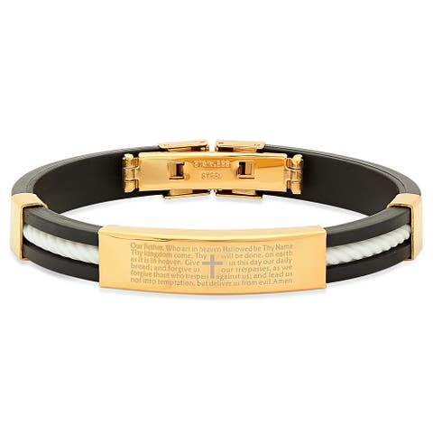Steeltime Men's Gold Tone 'Our Father' Prayer Bracelet in 5 Colors