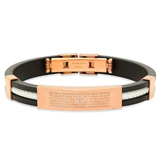 18k Rose Gold-plated 'Our Father' Prayer Bracelet