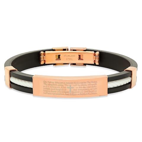 Steeltime Men's Rose Gold Tone 'Our Father' Prayer Bracelet in 5 Colors