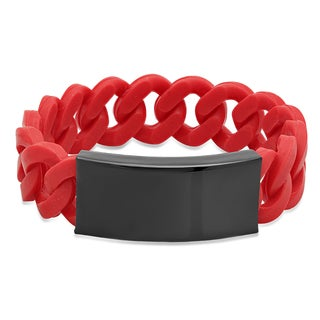 Red Rubber and Black Stainless Steel Bracelet