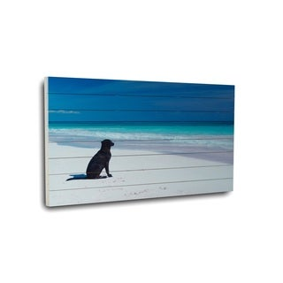 Gallery 57 'Dog on Beach' Wood Photographic Print