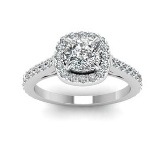 14k White Gold 1 1/10ct TDW Cushion-cut Diamond Halo Engagement Ring (I-J, VS1-VS2)
