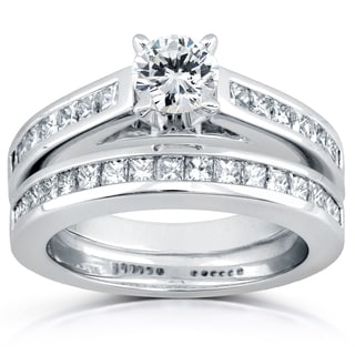 Annello by Kobelli 14k White Gold 1 1/2ct TDW Diamond Princess Channel Bridal Rings Set