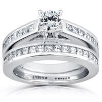 Annello by Kobelli 14k White Gold 1 1/2ct TDW Diamond Princess Channel Bridal Rings Set