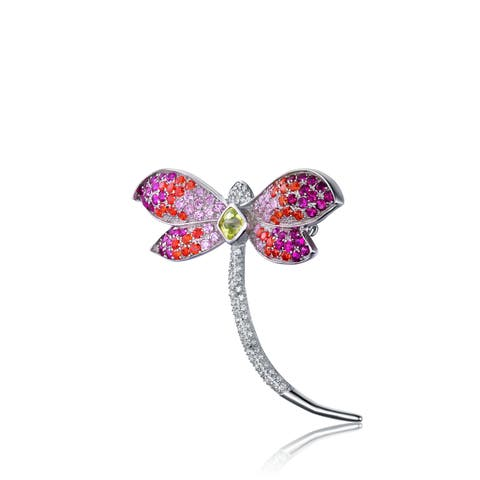 Collette Z Sterling Silver Cubic Zirconia Dragonfly Pin - Purple