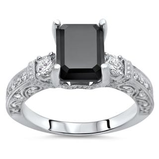 Noori 18k White Gold 2 5/8ct TDW Black Emerald-cut Diamond Engagement Ring (F-G, SI1-SI2)