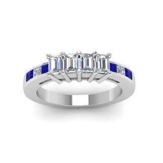 14k White Gold 1ct TDW Princess and Emerald-cut Diamond 4-stone Anniversary Band (G-H, SI1-SI2)