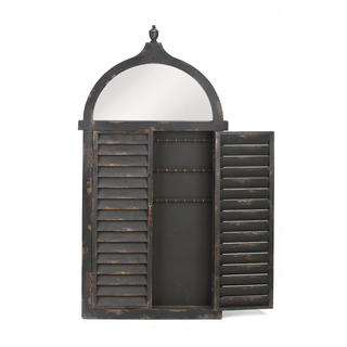 Black Wood Shutter Jewelry Cabinet