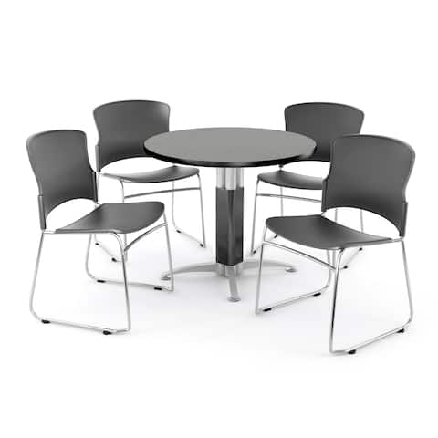 OFM Gray 36-inch Round Mesh Base Table with 4 Multi Use Chairs