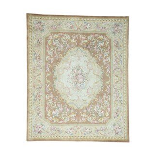 Thick/Plush Hand-Knotted Savonnerie Neo-Classic Design Rug (8'x10')
