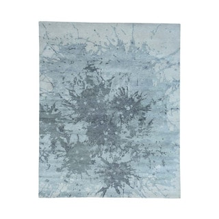 Hand-Knotted Splash Abstract Design Pure Wool Oriental Rug (8'x10')