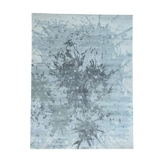 Hand-Knotted Pure Wool Splash Abstract Design Oriental Rug (9'x12')