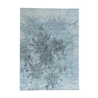 Pure Wool Splash Abstract Design Hand-Knotted Oriental Rug (10'x14')