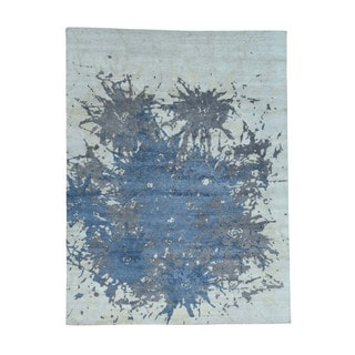 100 Percent Wool Abstract Design Hand-Knotted Oriental Rug (9'x12')