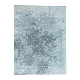 "Splash Abstract Design Hand-Knotted 100 Percent Wool Carpet (9'1""x12')"