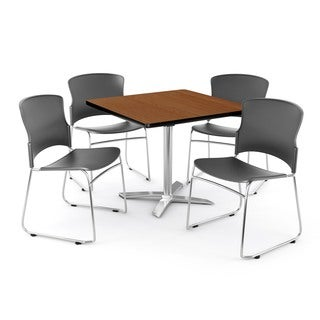 OFM Cherry 42-inch Square Multi Purpose Table with 4 Multi Use Chairs