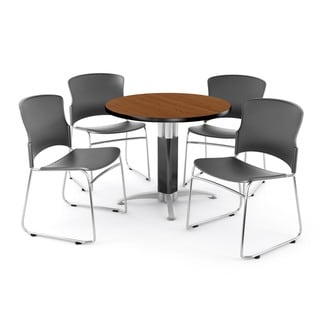 OFM Cherry 36-inch Round Mesh Base Table with 4 Multi Use Chairs