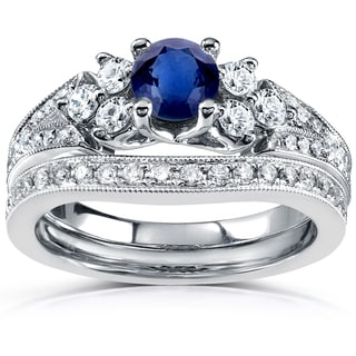 Annello by Kobelli 14k White Gold 1 1/6ct TCW Blue Sapphire and Diamond Vintage Bridal Set (GH, I1-I2)