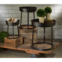 Dark Brown Metal Trays and Stands (Pack of 3)