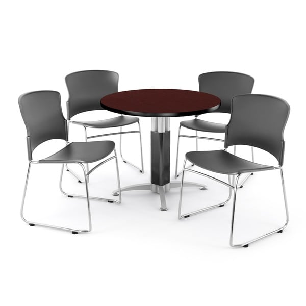 OFM Mahogany 36-inch Round Mesh Base Table with 4 Multi Use Chairs