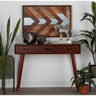 Benzara Chestnut Wood 42-inch Wide x 29-inch High Console Table