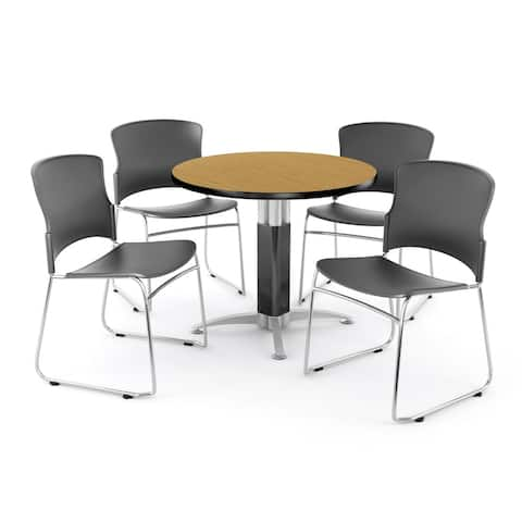OFM Oak 36-inch Round Mesh Base Table with 4 Multi Use Chairs