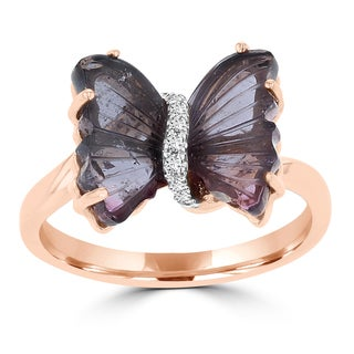 14K Rose Gold 3.38ct Tourmaline and 0.04ct TDW Diamond Butterfly Ring by La Vita Vital (VS-SI1, G-H)