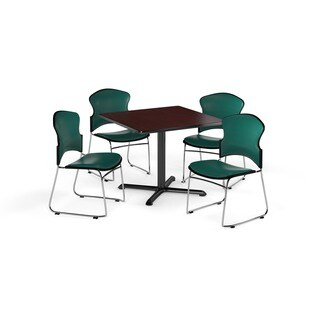 OFM Mahogany 36-inch Round X-Series Multi Purpose Table with 4 Stackable Vinyl Chairs