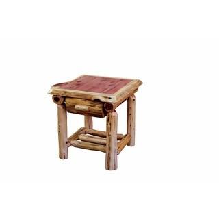 RUSTIC RED CEDAR LOG END TABLE One Drawer, One Shelf