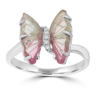 14K White Gold 2.20ct TGW Tourmaline and Diamond Accent Butterfly Ring by La Vita Vital - Pink