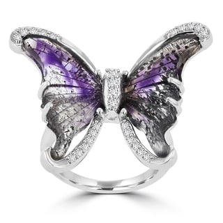 La Vita Vital Sterling Silver Natural Quartz and 1/3ct TDW Diamond Butterfly Ring (G-H, SI1-SI2)