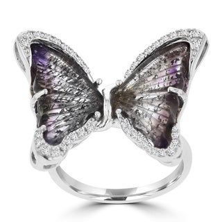 La Vita Vital Sterling Silver Natural Quartz and 1/5ct TDW Diamond Butterfly Ring (G-H, SI1,SI2)
